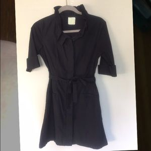 little yellow button Anthropologie black smock Top